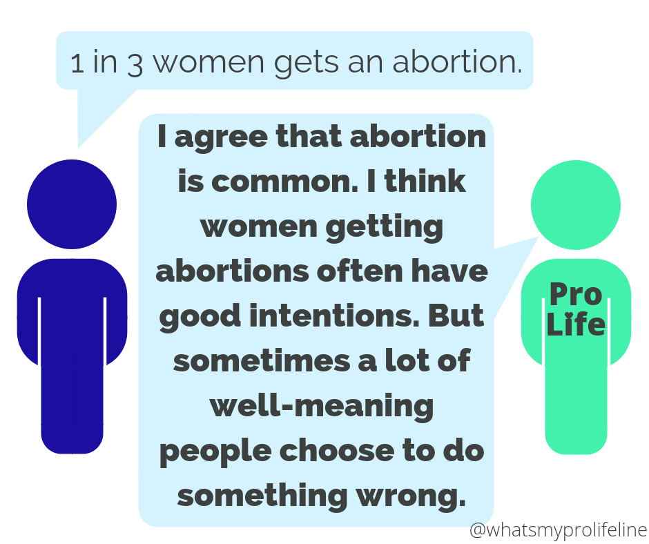 Person 1: 1 in 3 women gets an abortion. Person 2 (our hero): I agree that abortion is common. I think women getting abortions often have good intentions. But sometimes a lot of well-meaning people choose to do something wrong.