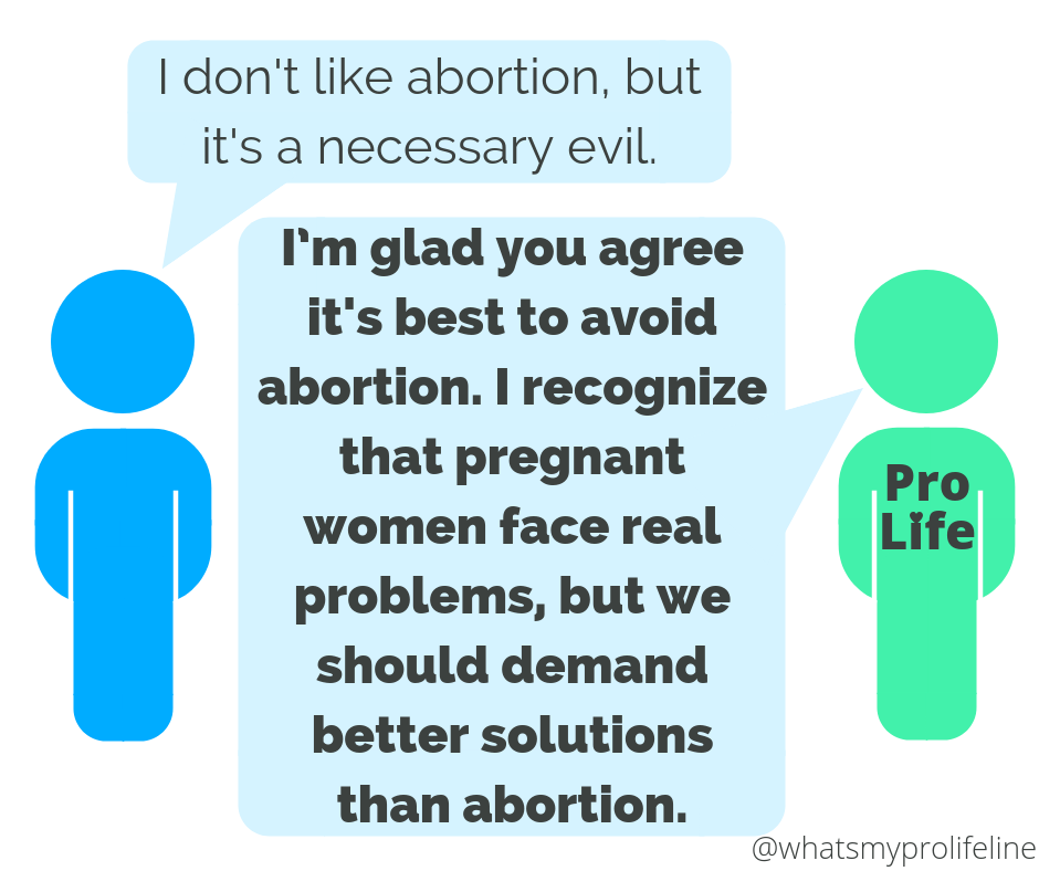Person 1: I don't like abortion, but it's a necessary evil. Person 2 (our hero): I'm glad you agree it's best to avoid abortion. I recognize that pregnant women face real problems, but we should demand better solutions than abortion.