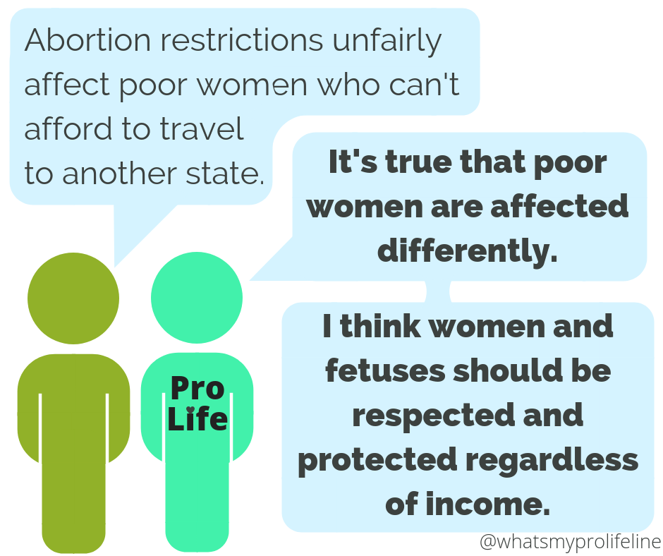 Person 1: Abortion restrictions unfairly affect poor women who can't afford to travel to another state. Person 2 (our hero): It's true that poor women are affected differently. I think women and fetuses should be respected and protected regardless of income.