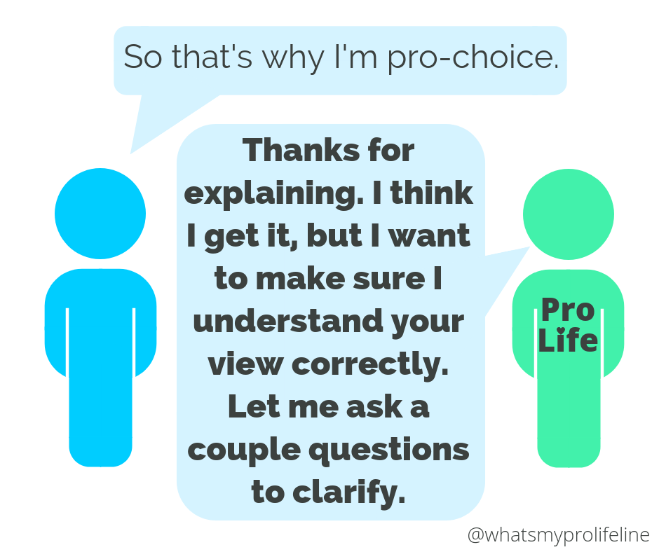 Person 1: So that's why I'm pro-choice. Person 2 (our hero): Thanks for explaining. I think I get it, but I want to make sure I understand your view correctly. Let me ask a couple questions to clarify.