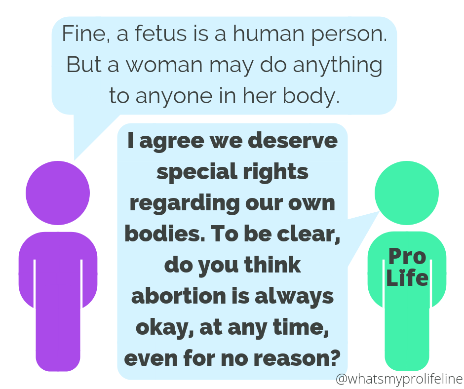 Person 1: Fine, a fetus is a human person. But a woman may do anything to anyone in her body. Person 2 (our hero): I agree we deserve special rights regarding our own bodies. To be clear, do you think abortion is always okay, at any time, even for no reason?