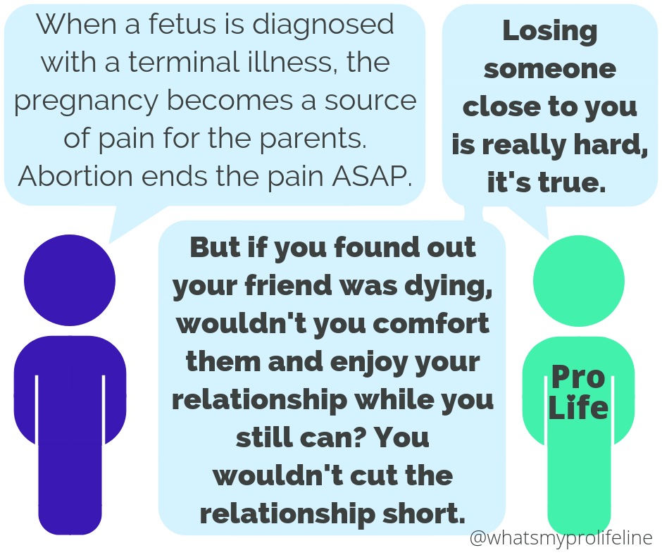 Person 1: When a fetus is diagnosed with a terminal illness, the pregnancy becomes a source of pain for the parents. Abortion ends the pain ASAP. Person 2 (our hero): Losing someone close to you is really hard, it's true. But if you found out your friend was dying, wouldn't you comfort them and enjoy your relationship while you still can? You wouldn't cut the relationship short.