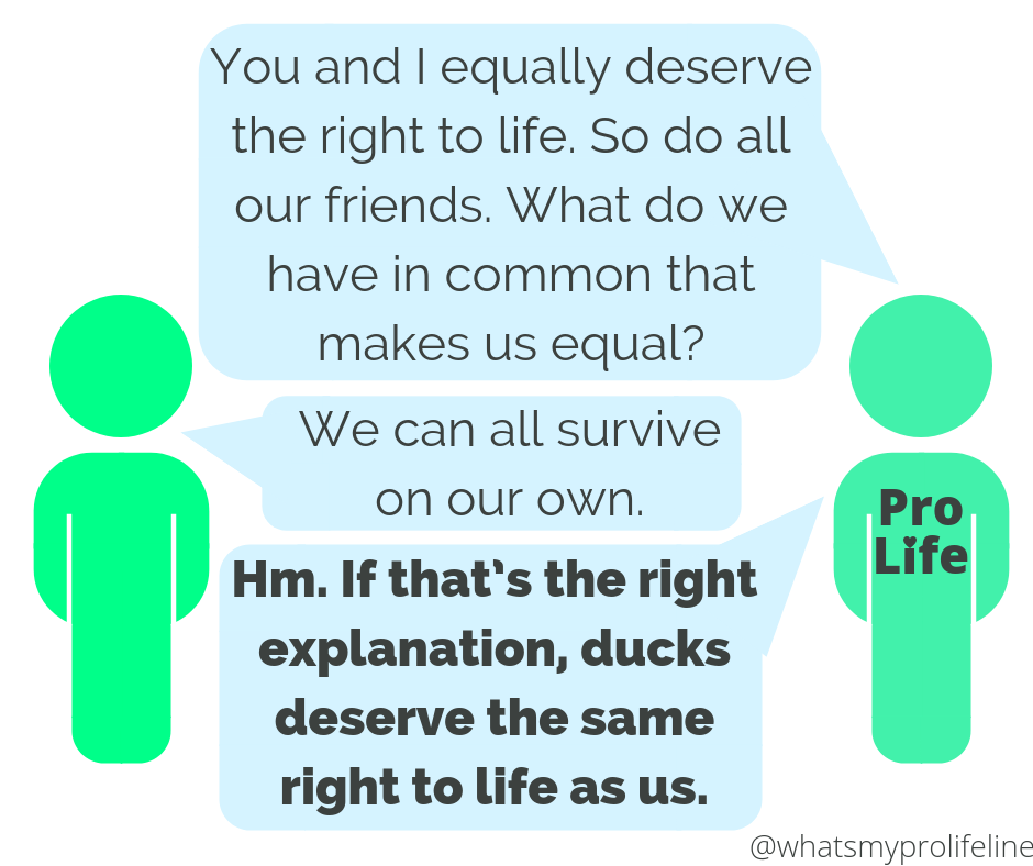Person 1 (our hero): You and I equally deserve the right to life. So do all our friends. What do we have in common that makes us equal? Person 2: We can all survive on our own. Person 1 (our hero): Hm. If that's the right explanation, ducks deserve the same right to life as us.