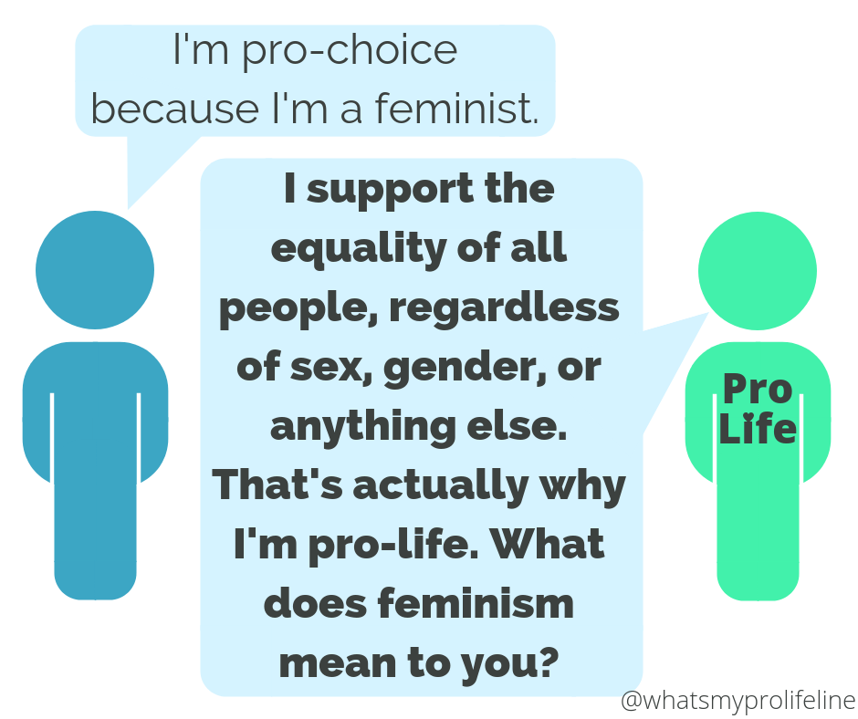 Person 1: I'm pro-choice because I'm a feminist. Person 2 (our hero): I support the equality of all people, regardless of sex, gender, or anything else. That's actually why I'm pro-life. What does feminism mean to you?