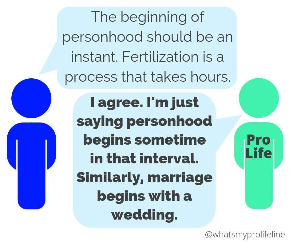 Person 1: The beginning of personhood should be an instant. Fertilization is a process that takes hours. Person 2 (our hero): I agree. I'm just saying personhood begins sometime in that interval. Similarly, marriage begins with a wedding.