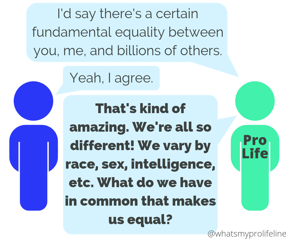 Person 1 (our hero): I'd say there's a certain fundamental equality between you, me, and billions of others. Person 2: Yeah, I agree. Person 1 (our hero): That's kind of amazing. We're all so different! We vary by race, sex, intelligence, etc. What do we have in common that makes us equal?