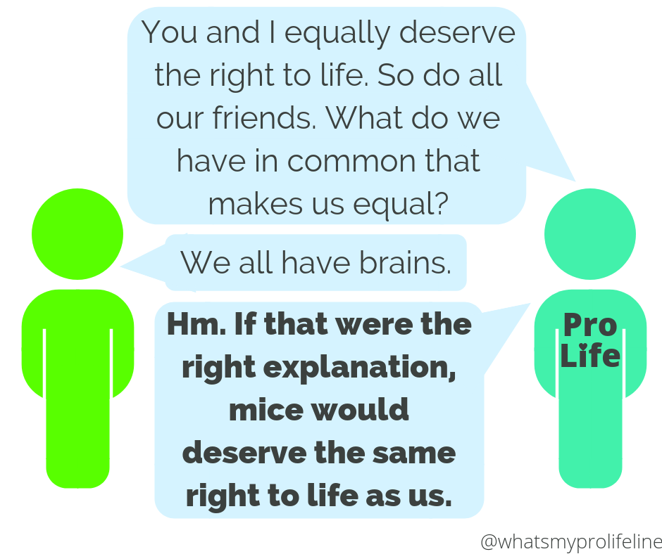 Person 1 (our hero): You and I equally deserve the right to life. So do all our friends. What do we have in common that makes us equal? Person 2: We all have brains. Person 1 (our hero): Hm. If that were the right explanation, mice would deserve the same right to life as us.