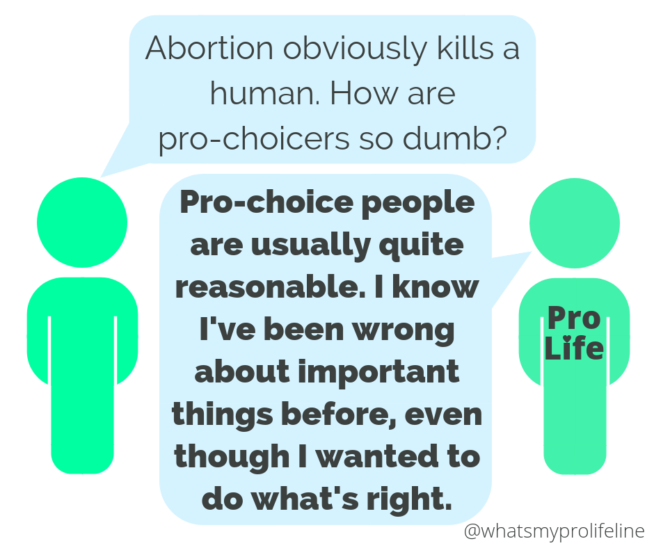 Person 1: Abortion obviously kills a human. How are pro-choicers so dumb? Person 2 (our hero): Pro-choice people are usually quite reasonable. I know I've been wrong about important things before, even though I wanted to do what's right.