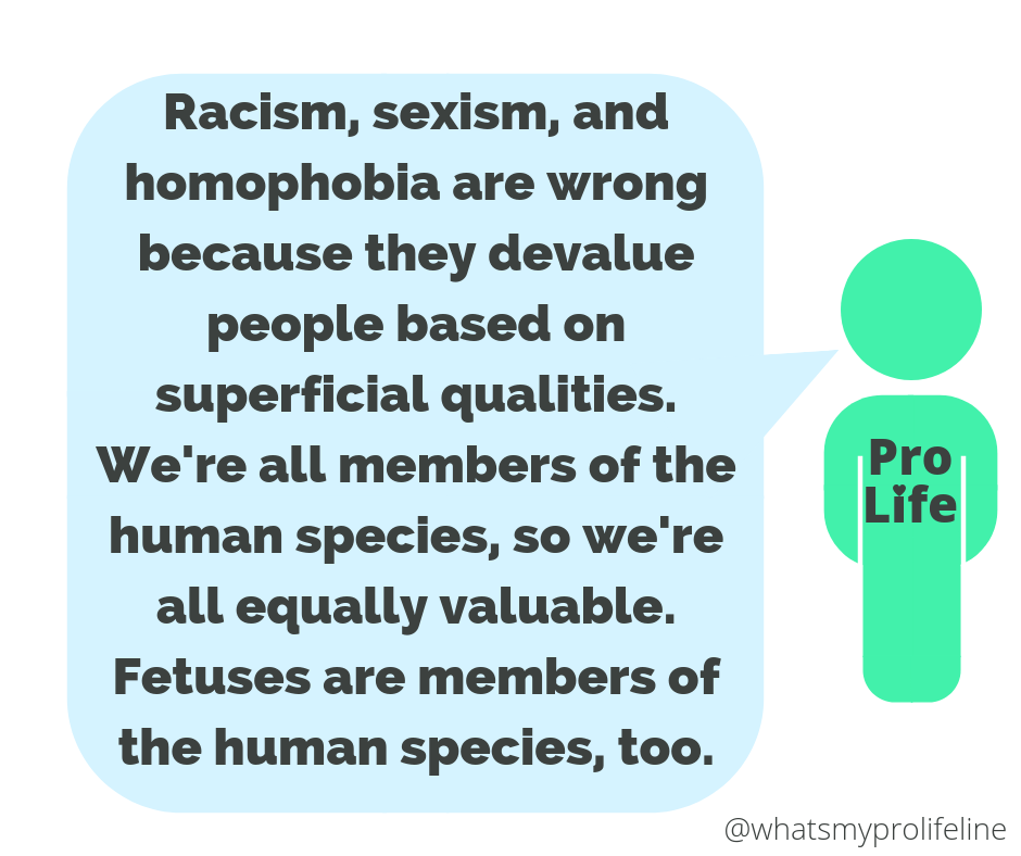Our hero: Racism, sexism, and homophobia are wrong because they devalue people based on superficial qualities. We're all members of the human species, so we're all equally valuable. Fetuses are members of the human species, too.
