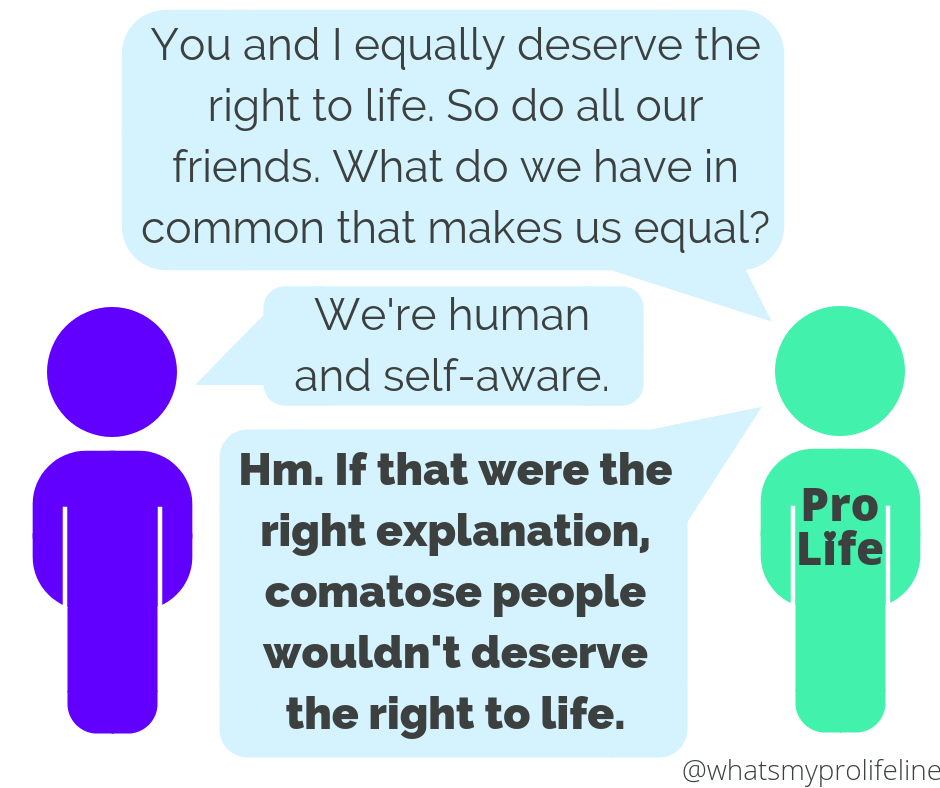 Person 1 (our hero): You and I equally deserve the right to life. So do all our friends. What do we have in common that makes us equal? Person 2: We're human and self-aware. Person 1 (our hero): Hm. If that were the right explanation, comatose people wouldn't deserve the right to life.