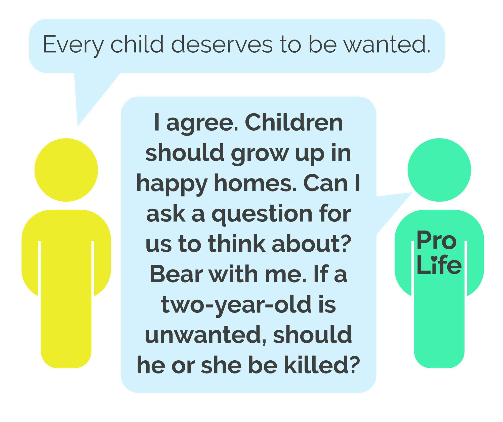Person 1: Every child deserves to be wanted. Person 2 (our hero): I agree. Children should grow up in happy homes. Can I ask a question for us to think about? Bear with me. If a two-year-old is unwanted, should he or she be killed?