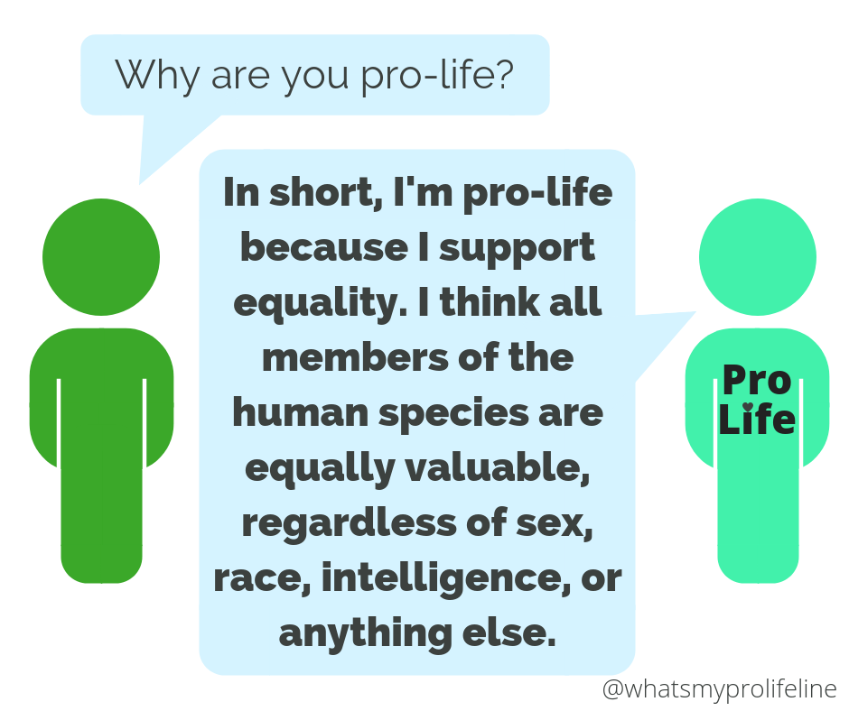 Person 1: Why are you pro-life? Person 2 (our hero): In short, I'm pro-life because I support equality. I think all members of the human species are equally valuable, regardless of sex, race, intelligence, or anything else.