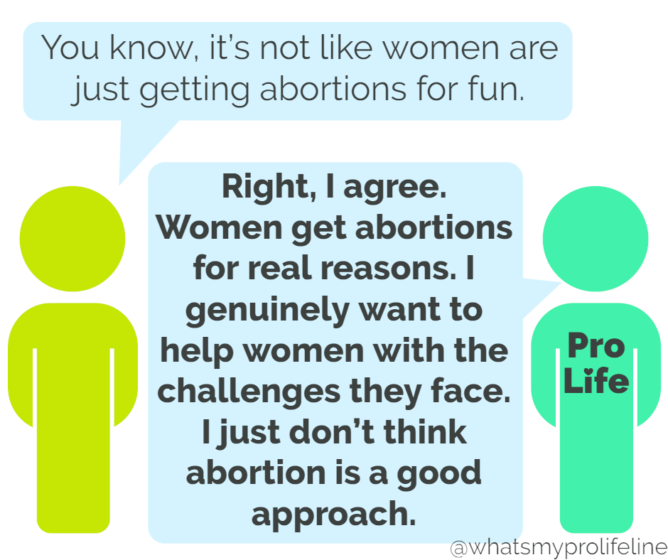 Person 1: You know, it's not like women are just getting abortions for fun. Person 2 (our hero): Right, I agree. Women get abortions for real reasons. I genuinely want to help women with the challenges they face. I just don't think abortion is a good approach.